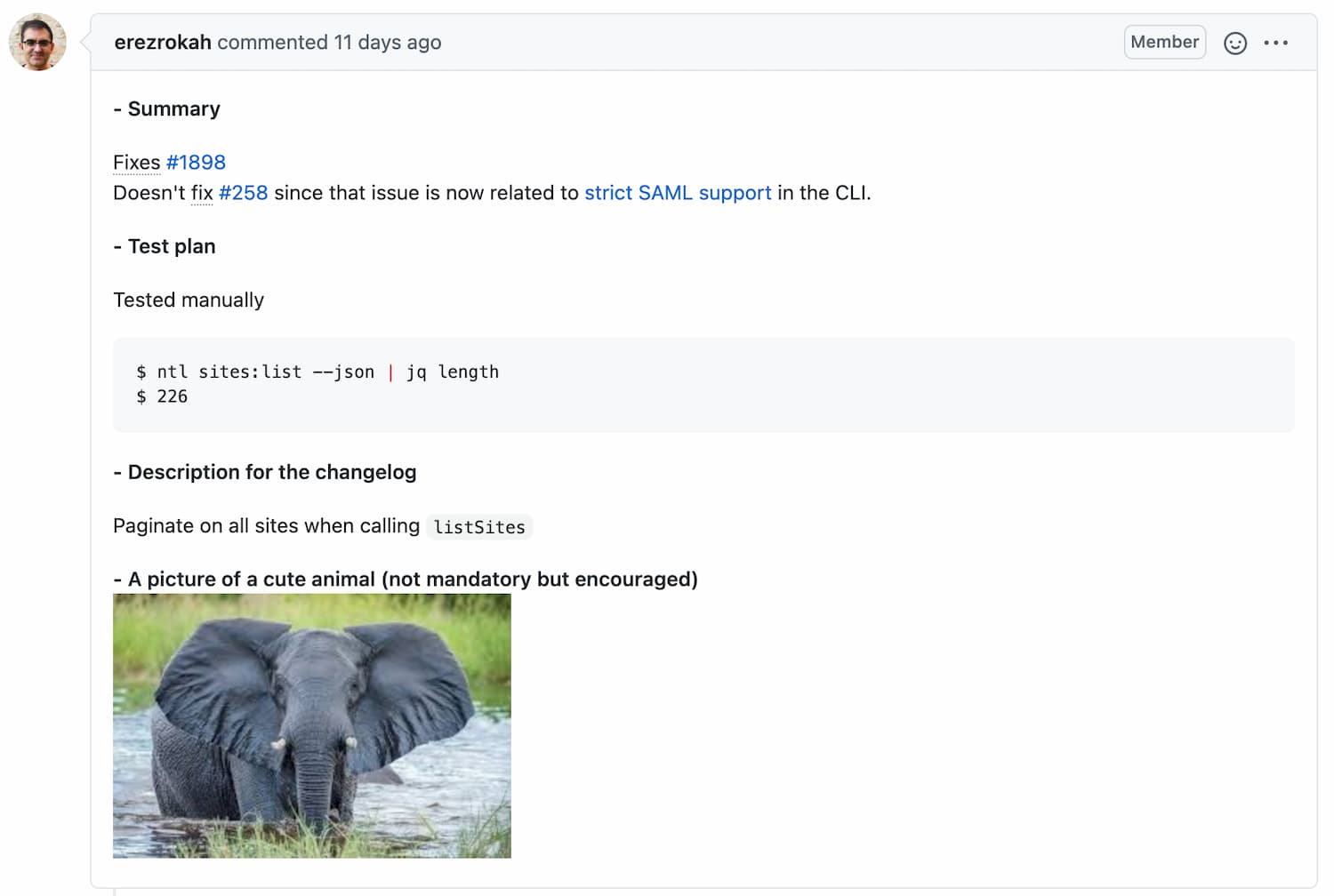 A pull request with a cute baby elephant