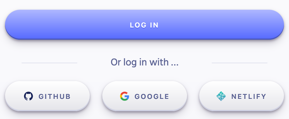 The login screen for Algolia with options for Github, Google, and the new Netlify login button