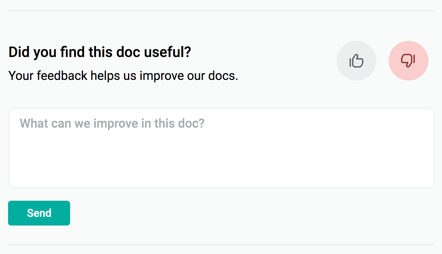 Form with thumbs down button selected presents prompt for feedback: What can we improve in this doc?