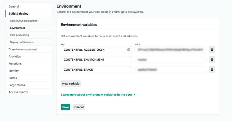 Environment Variables in the Netlify Dashboard