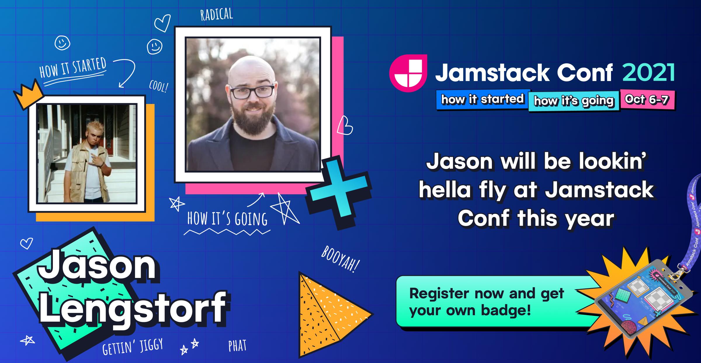Jamstack Conf conference badge sample