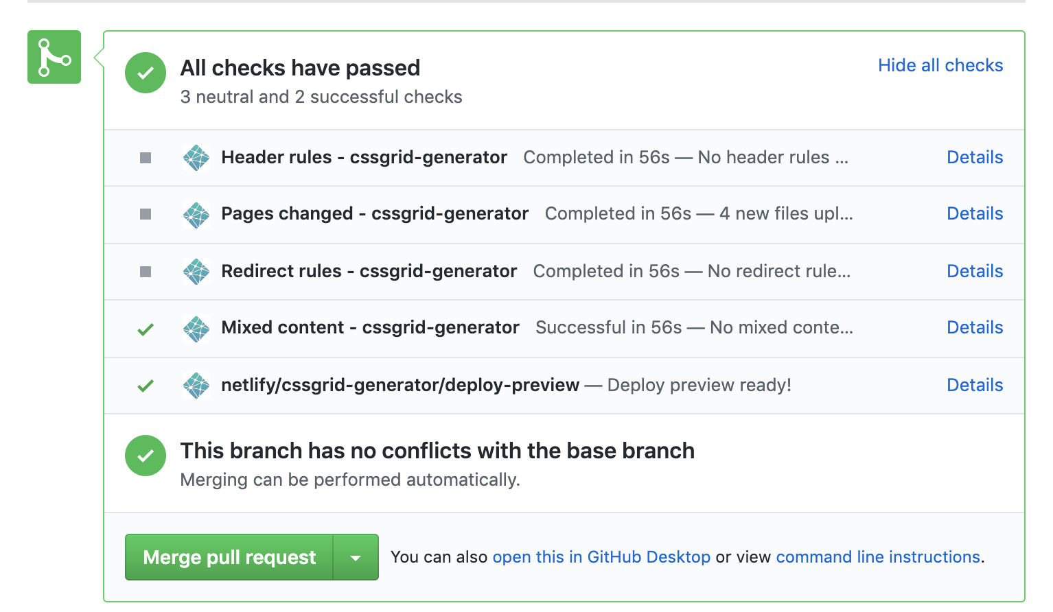 deploy preview link inline in a pull request