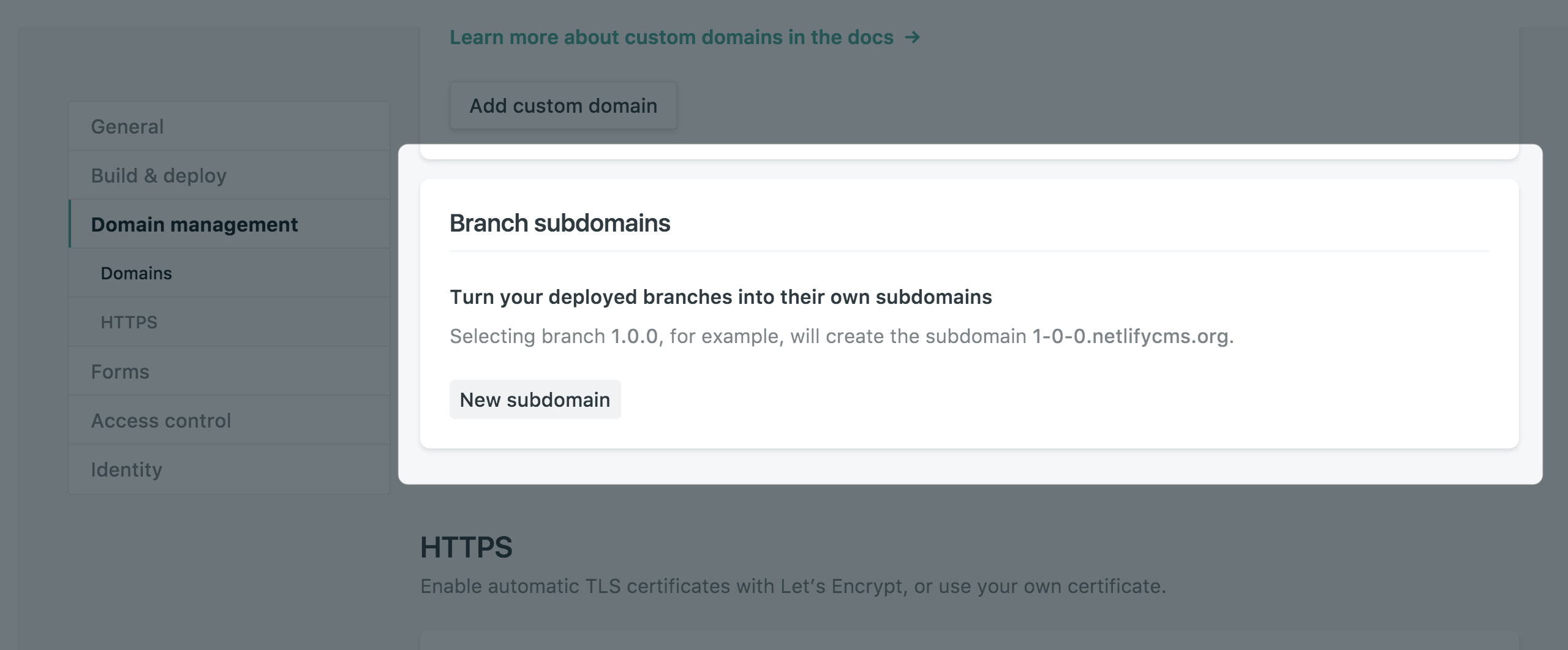 Branch subdomains panel with no branch subdomains selected yet
