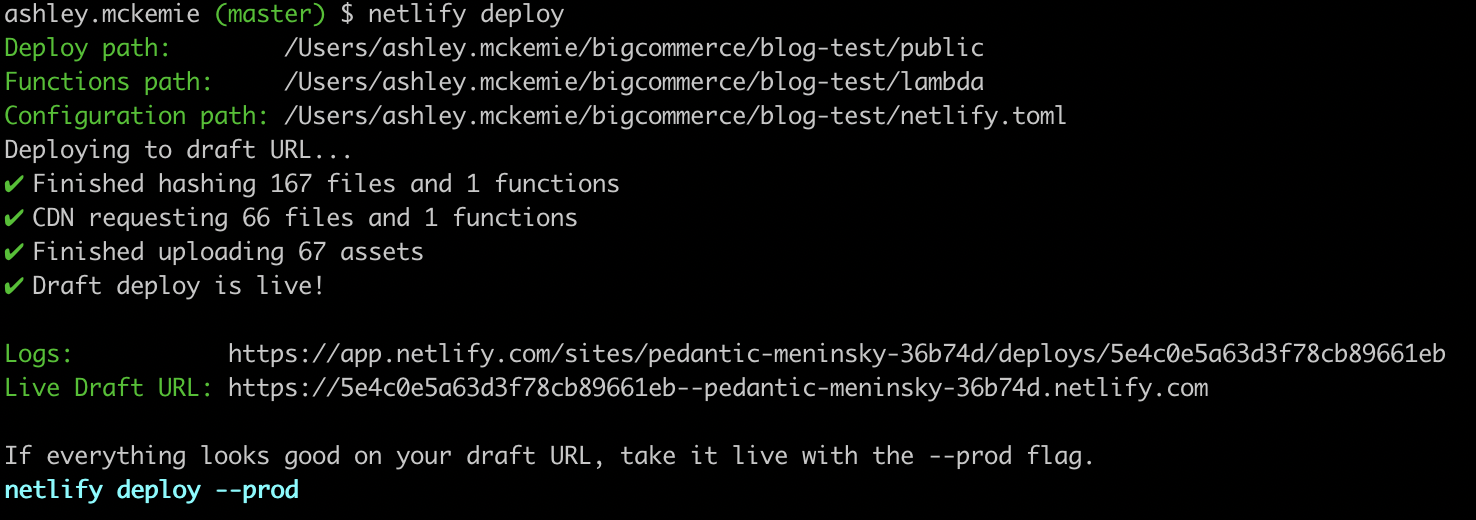 netlify cli deploy commands example in terminal