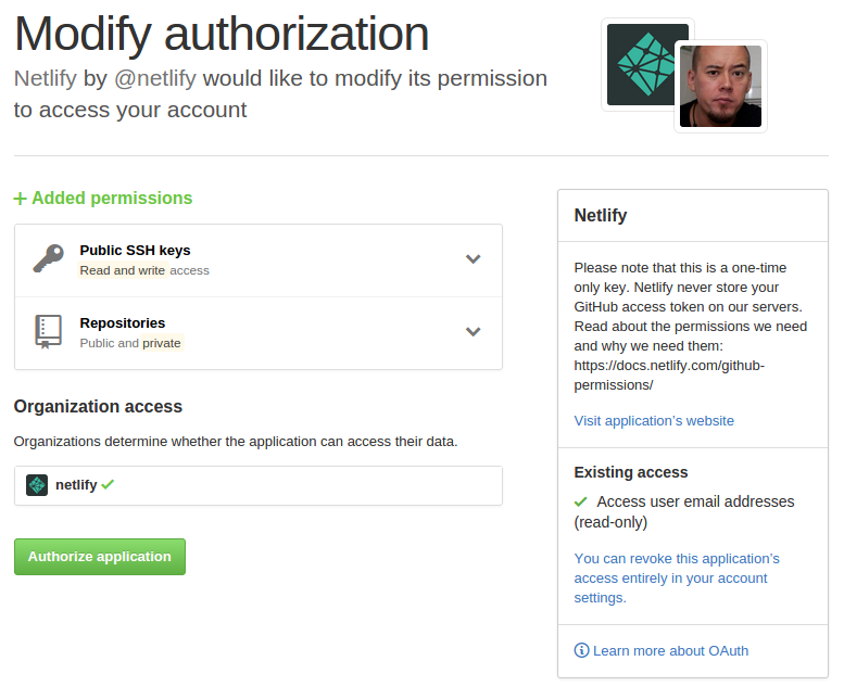 Authorize netlify