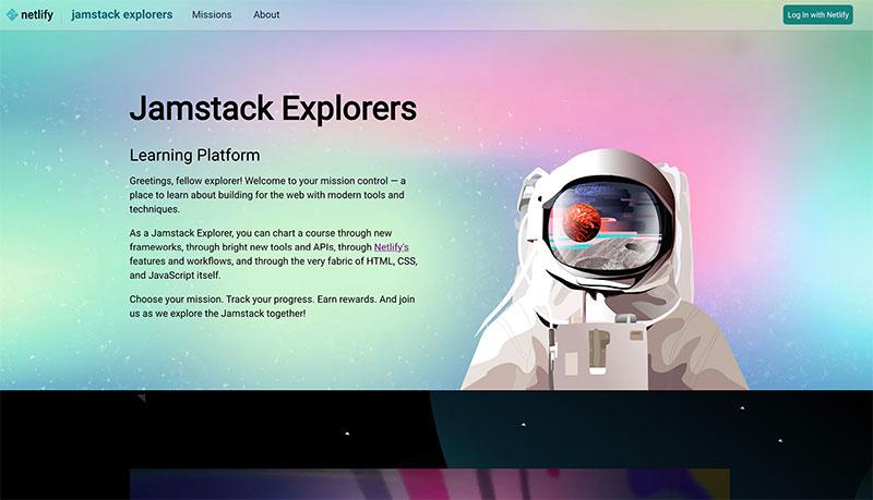 Screenshot of Jamstack Explorers learning platform