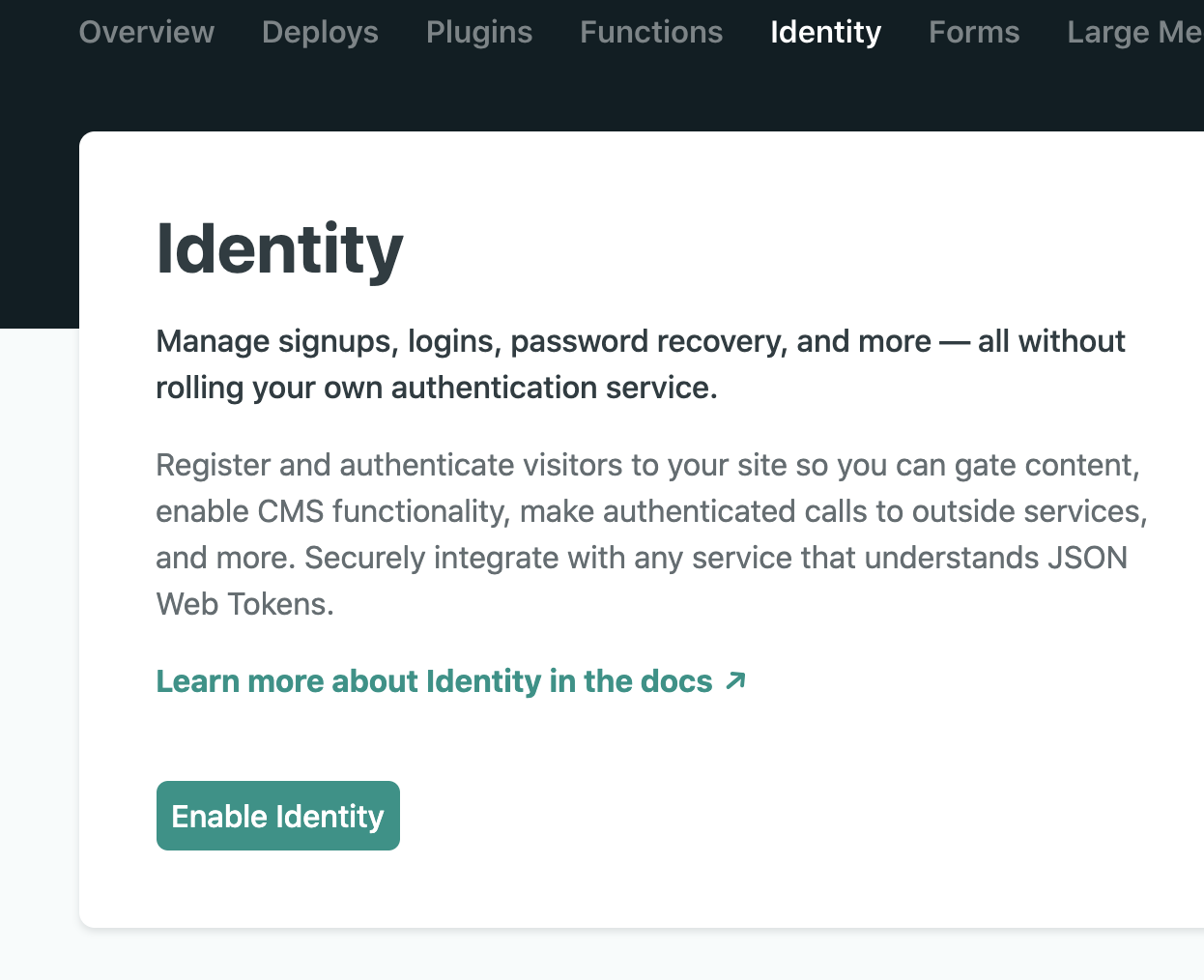 Netlify Identity in your Project Settings