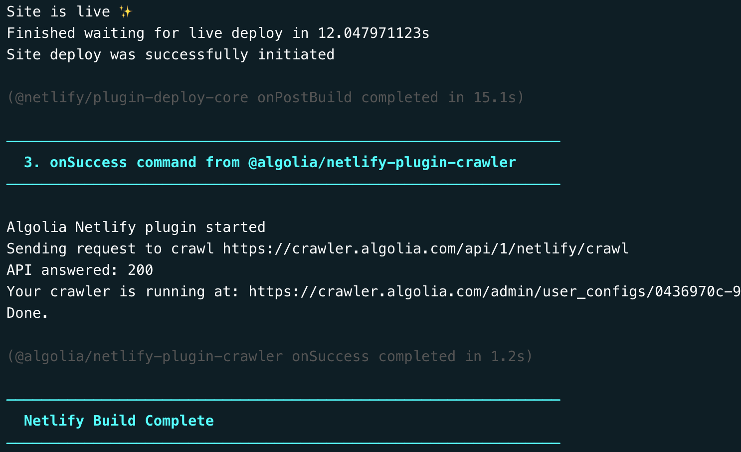 Screenshot of Netlify build logs showing site is live, focused on the logs generated by the Algolia plugin