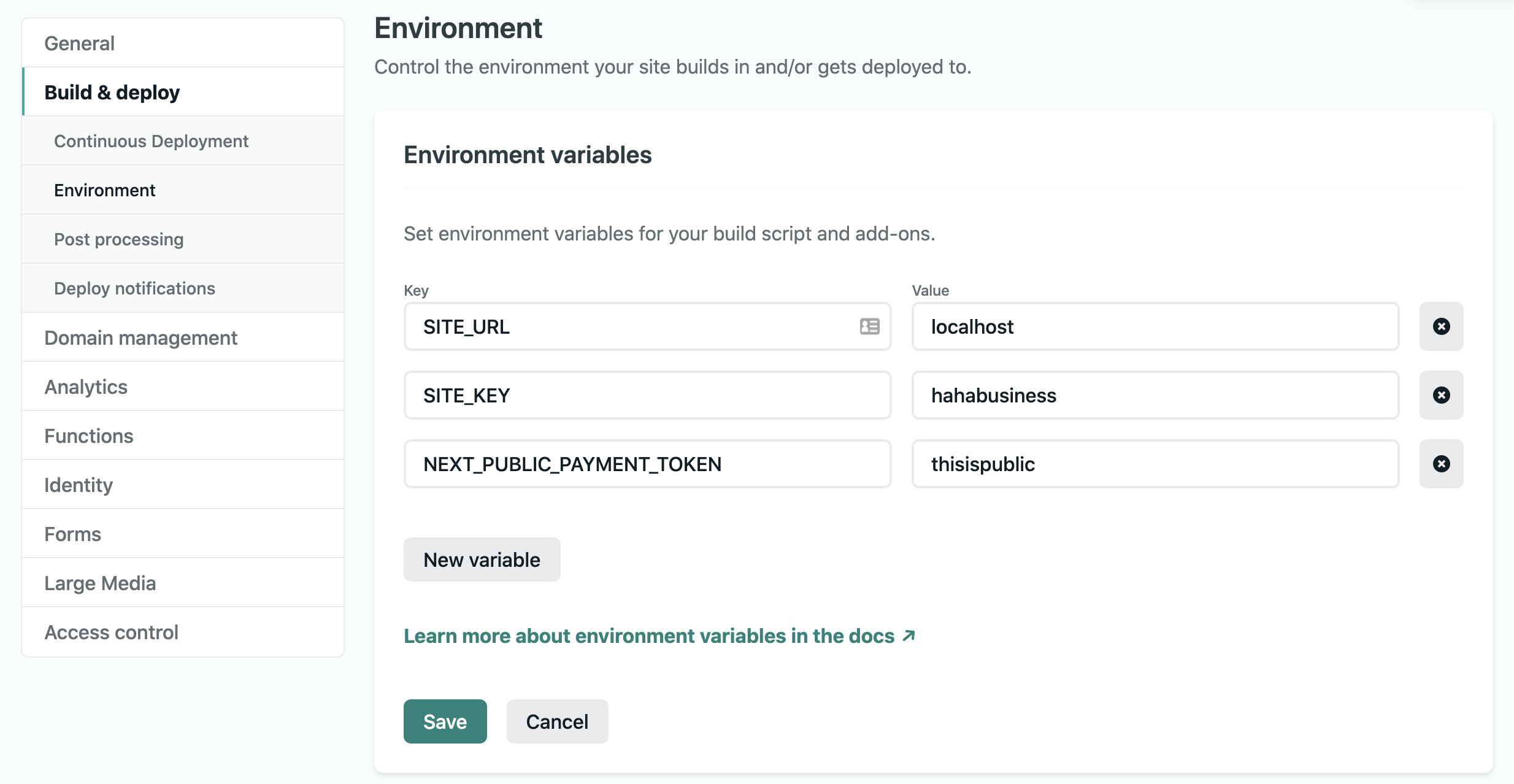 Environment Variables in the UI