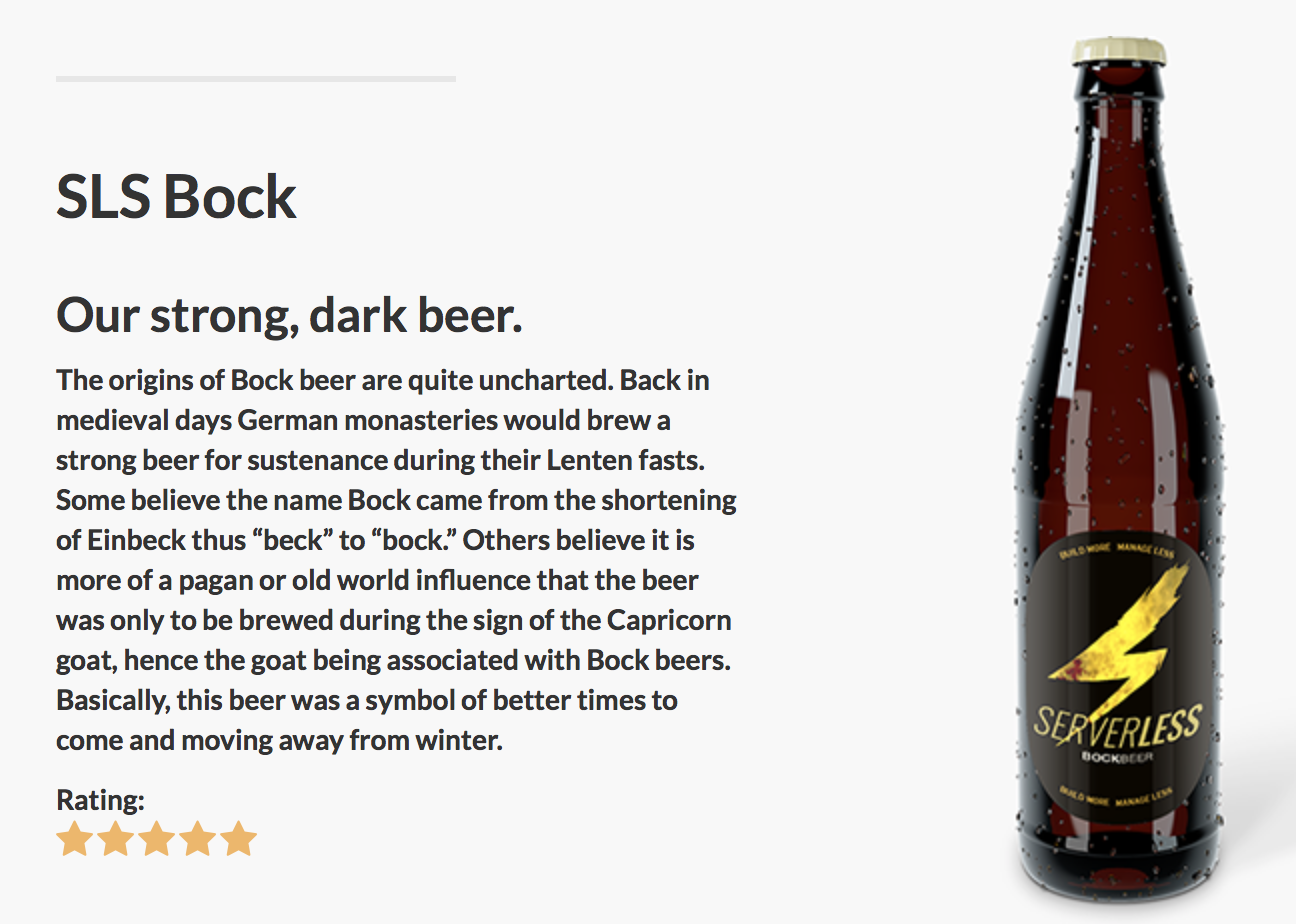 Beer with description and star rating