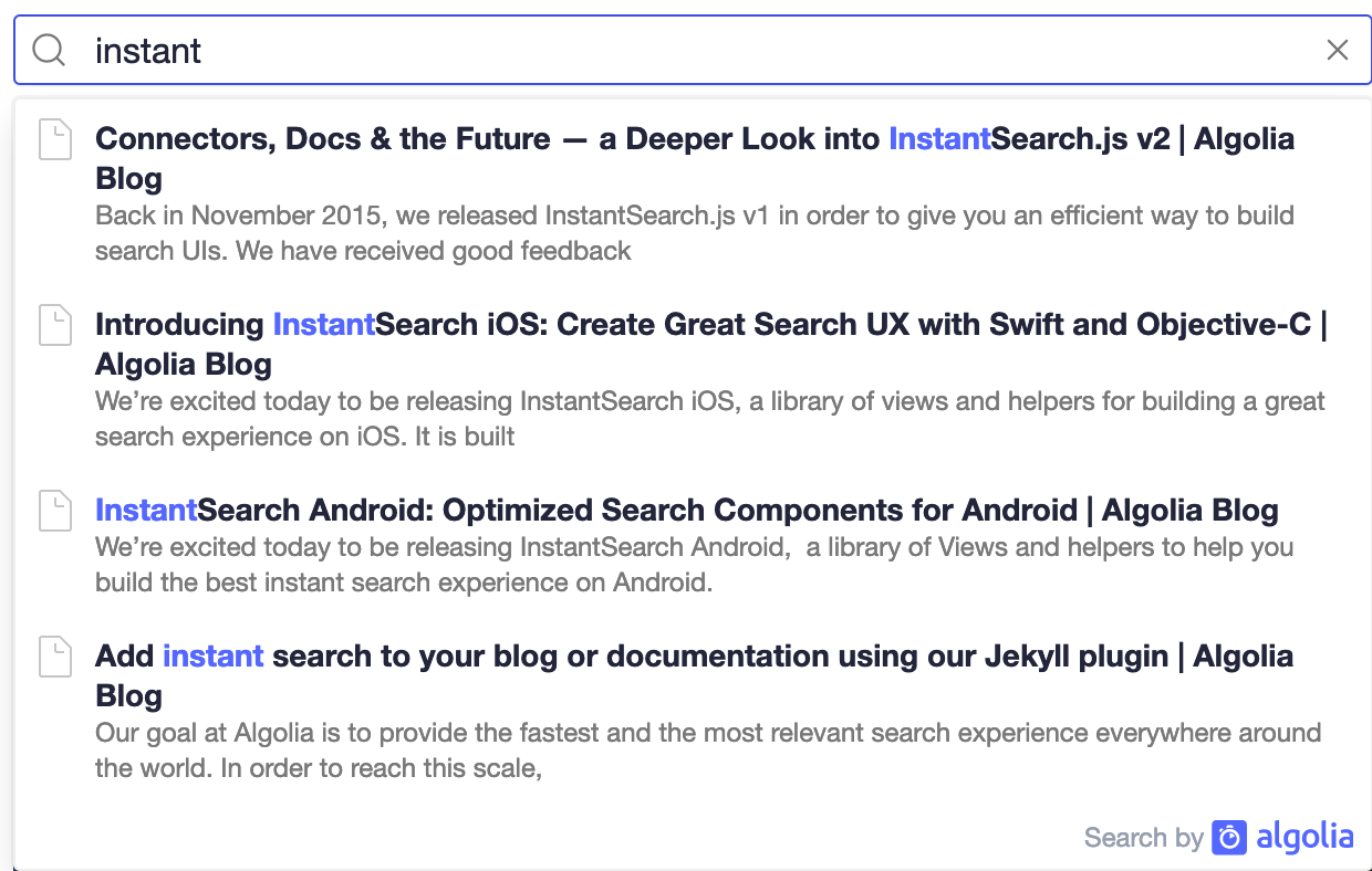 Screenshot of search results with autocomplete user interface