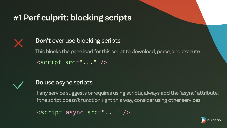 Web perf culprit: blocking scripts