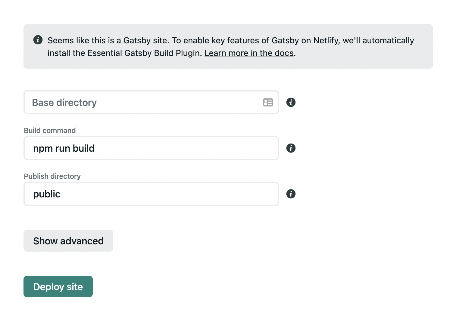 Screenshot of Netlify app reads: Seems like this is a Gatsby site. To enable key features of Gatsby on Netlify, we'll automatically install the Essential Gatsby Build Plugin.