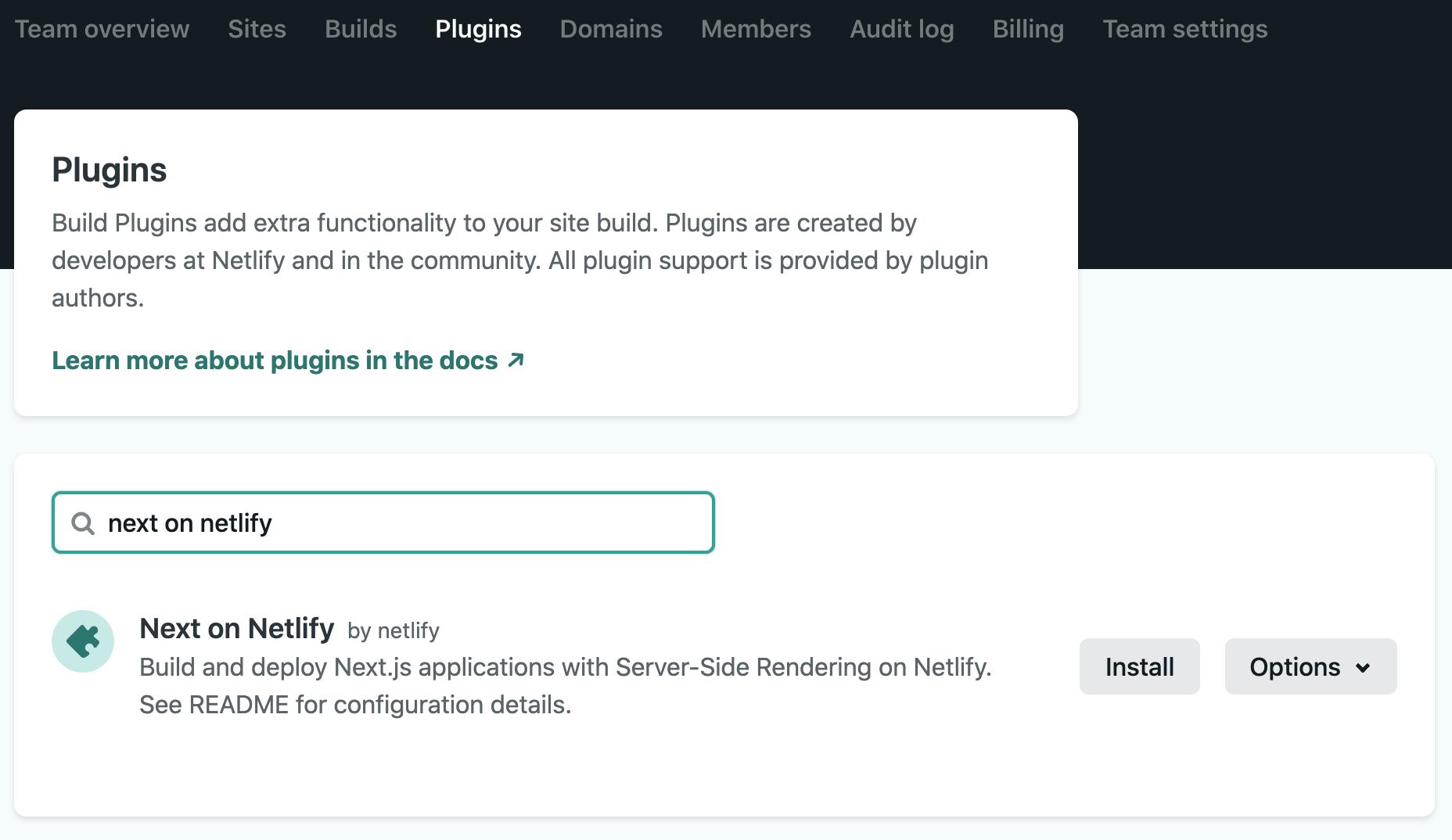 Next.js Build Plugin in the UI