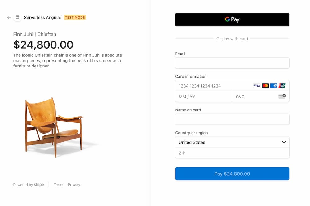 stripe checkout page for clicked product