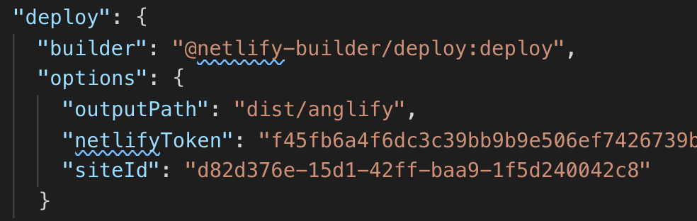 an example of the angular.json deploy setting