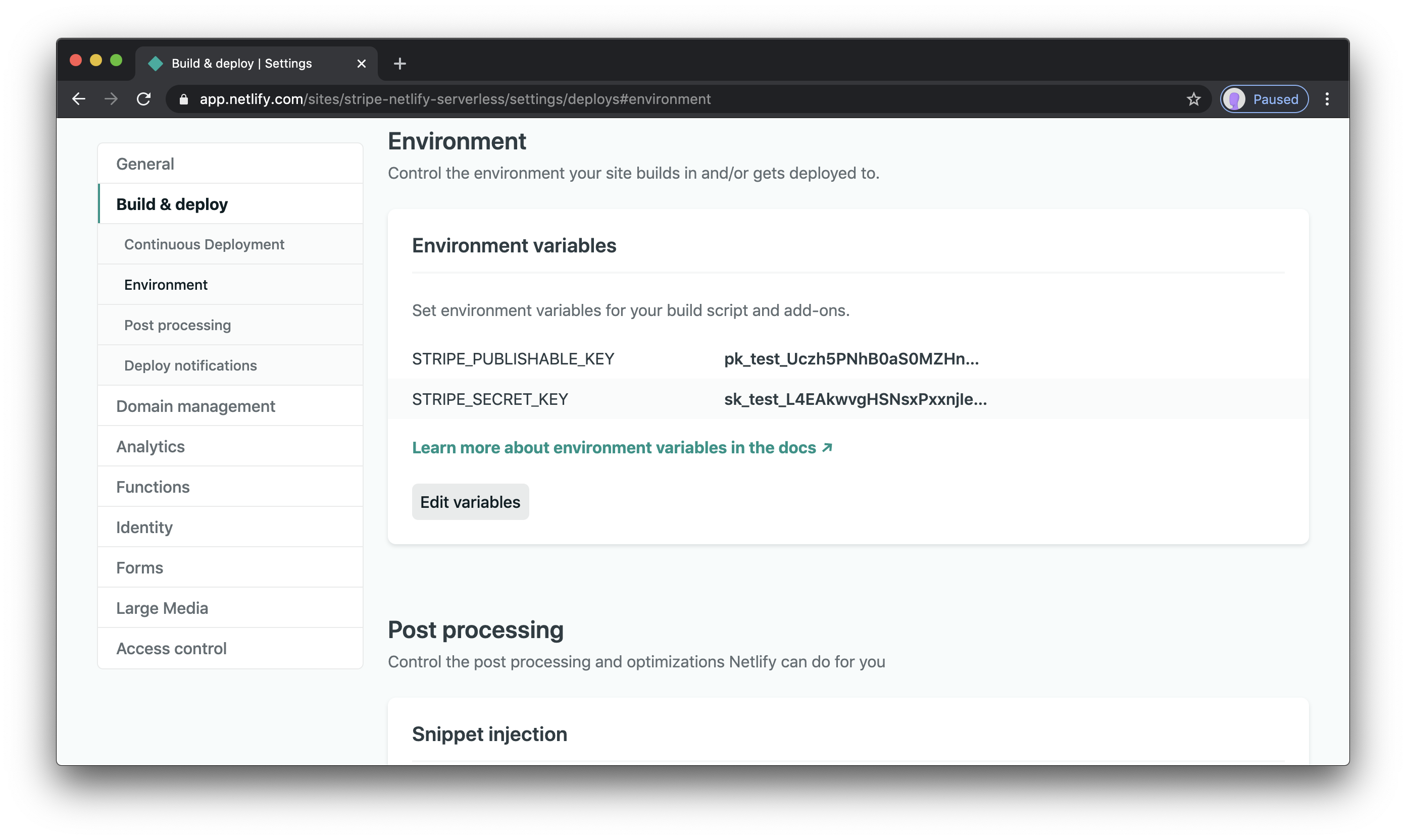 Stripe env vars added to the Netlify environment settings