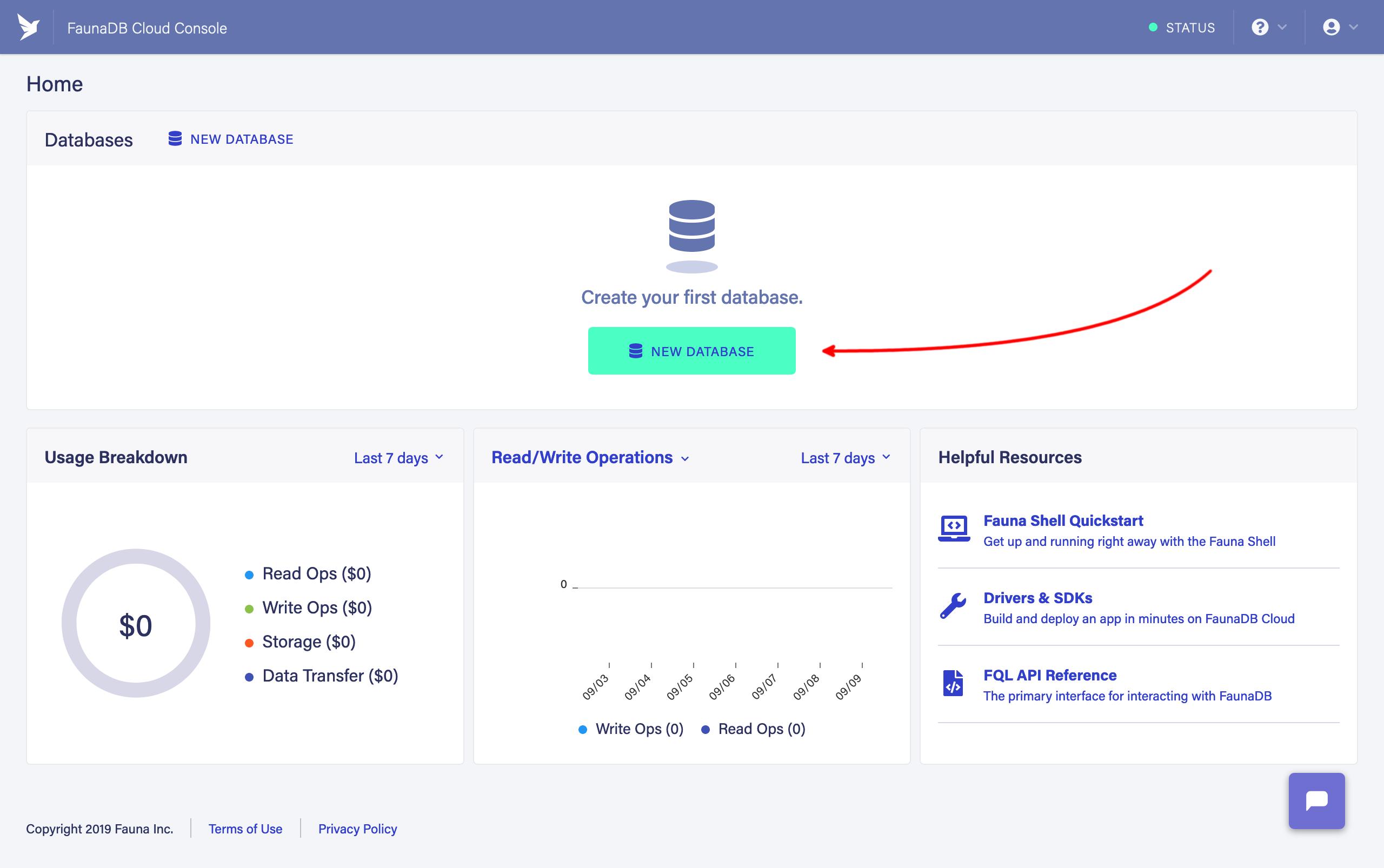Create a FaunaDB database
