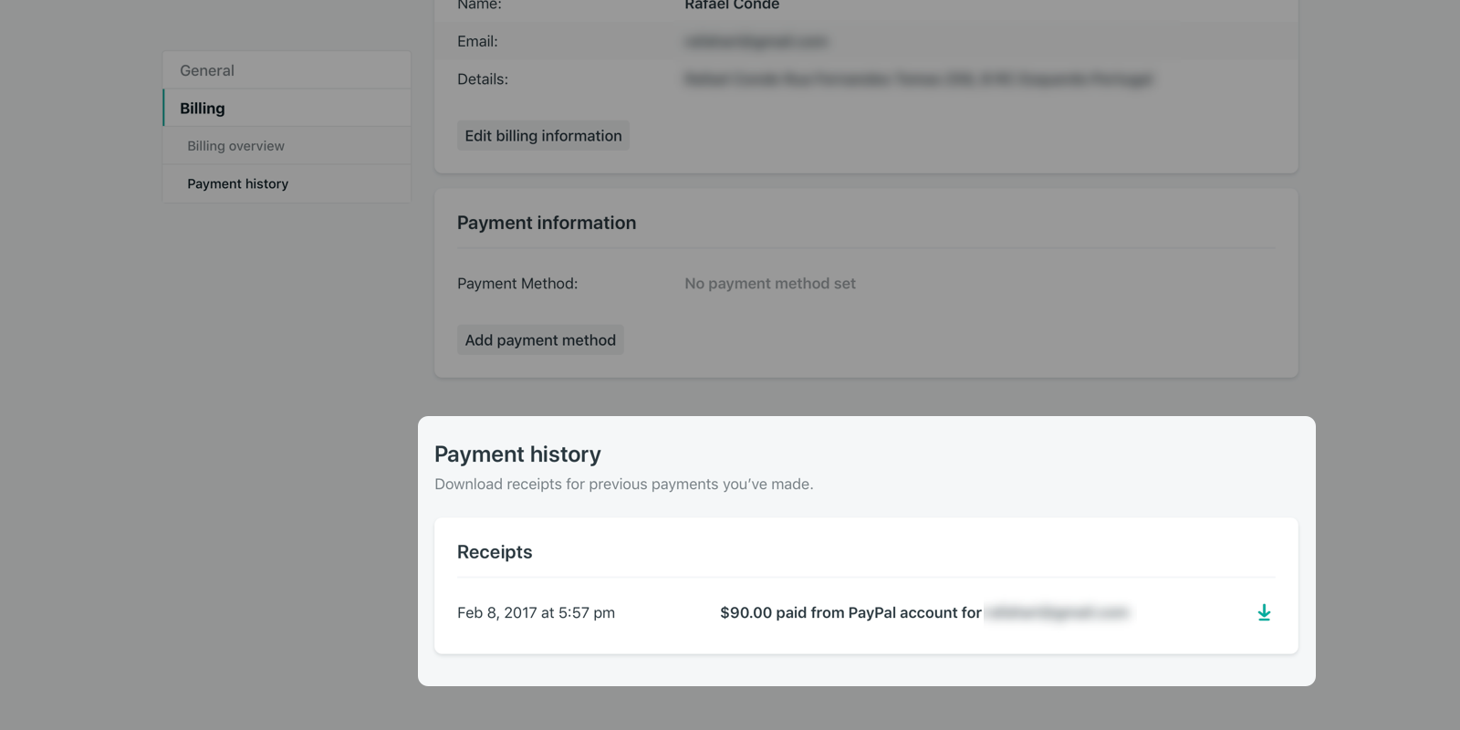 Payment history, listing each receipt with date, amount, account, and download link