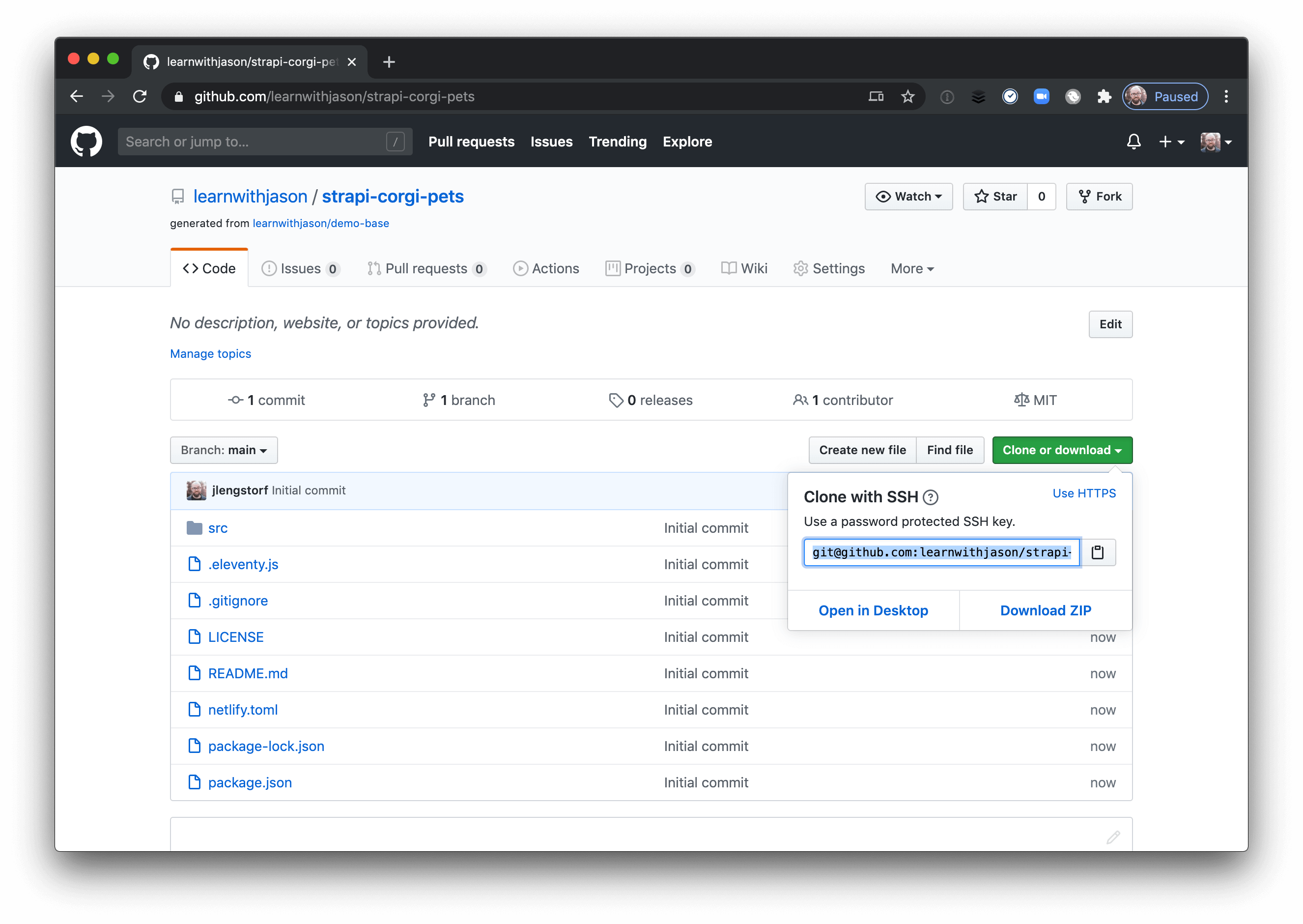 Repo cloning URL in the GitHub UI.