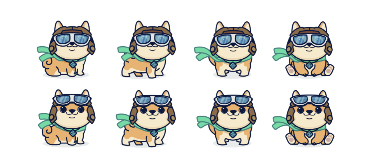 Savvy the dog, in her pilots outfit, in eight different poses. Her pilots cap is a brown leather, and she has light blue goggles. She is also wearing a bright green scarf that is blowing in the wind. She is smiling in each pose, and visible on her neck is the Netlify emblem.