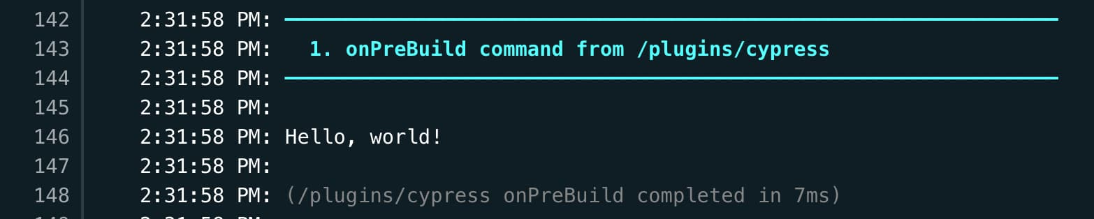 """Deploy logs showing the onPreBuild command output saying """"Hello, world!"""""""