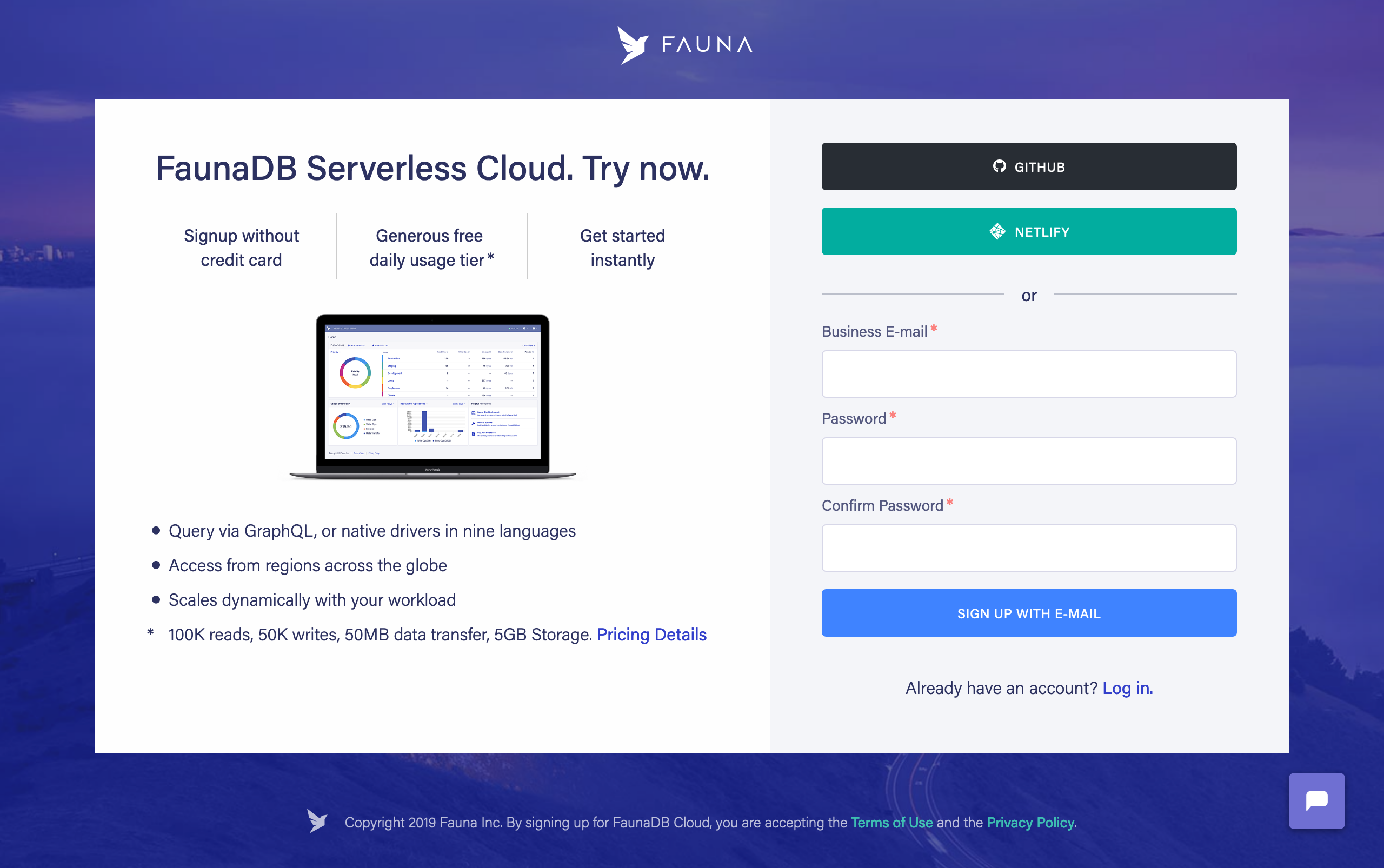 Sign up for FaunaDB
