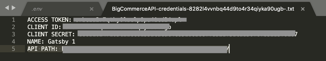 bigcommerce api credentials txt file setup example