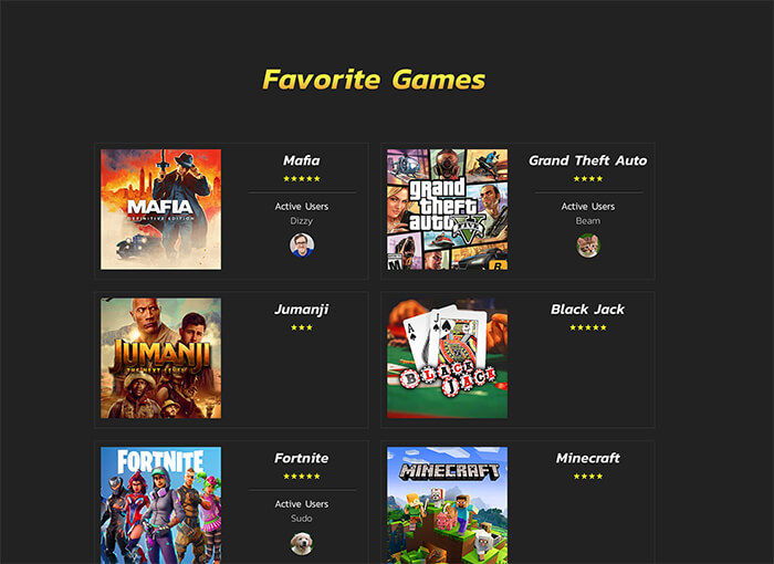 screenshot of favegames site