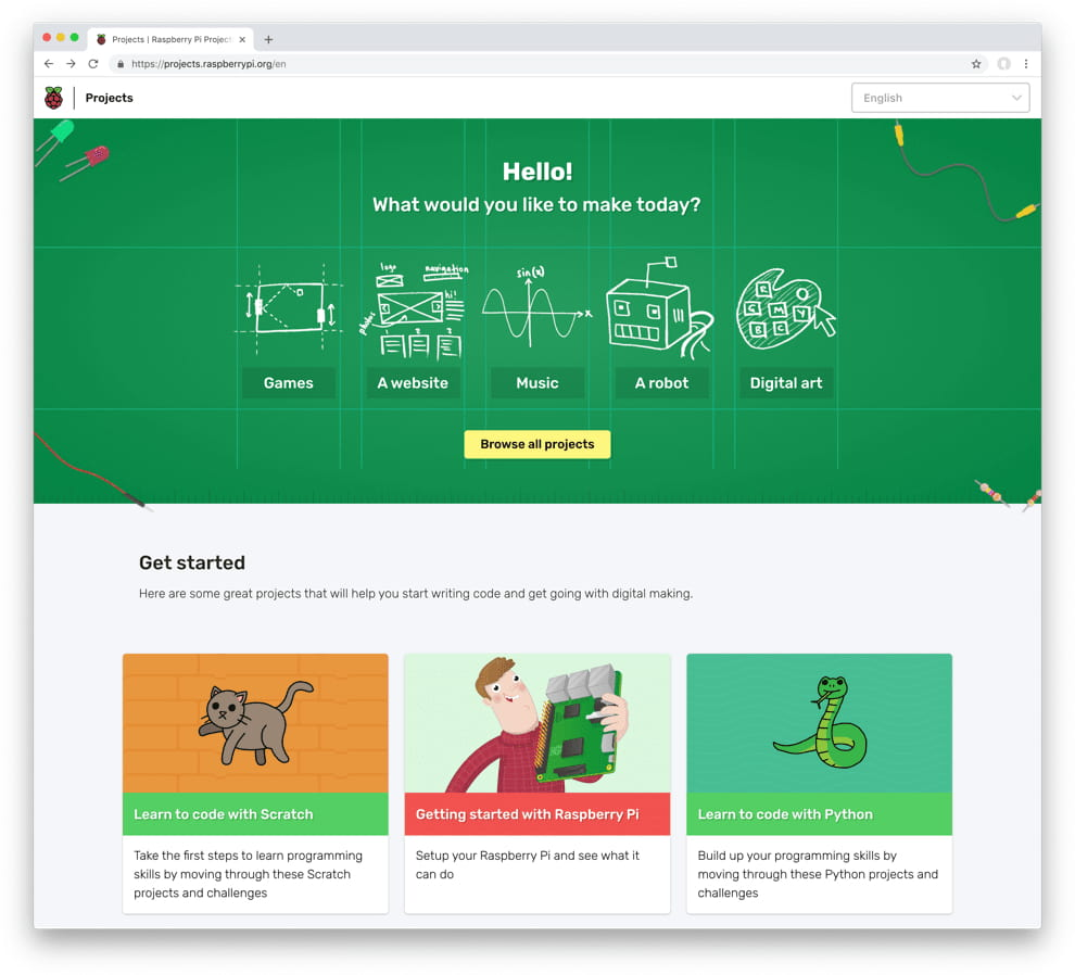 Raspberry Pi Projects home page