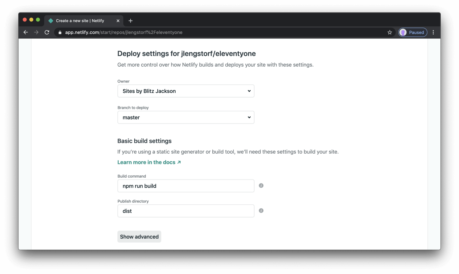 step 5 - configure site settings in Netlify app