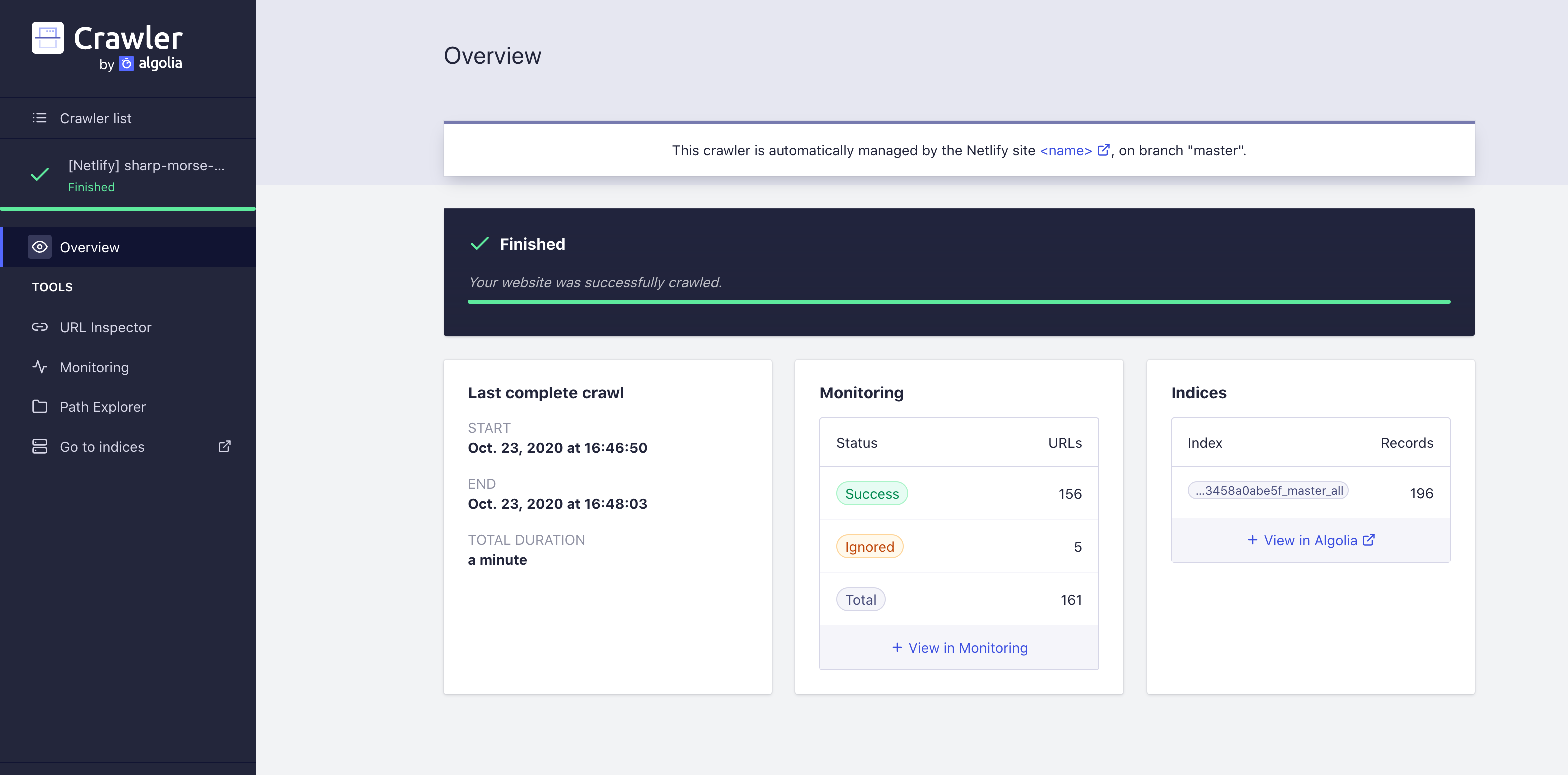 Algolia Crawler Interface