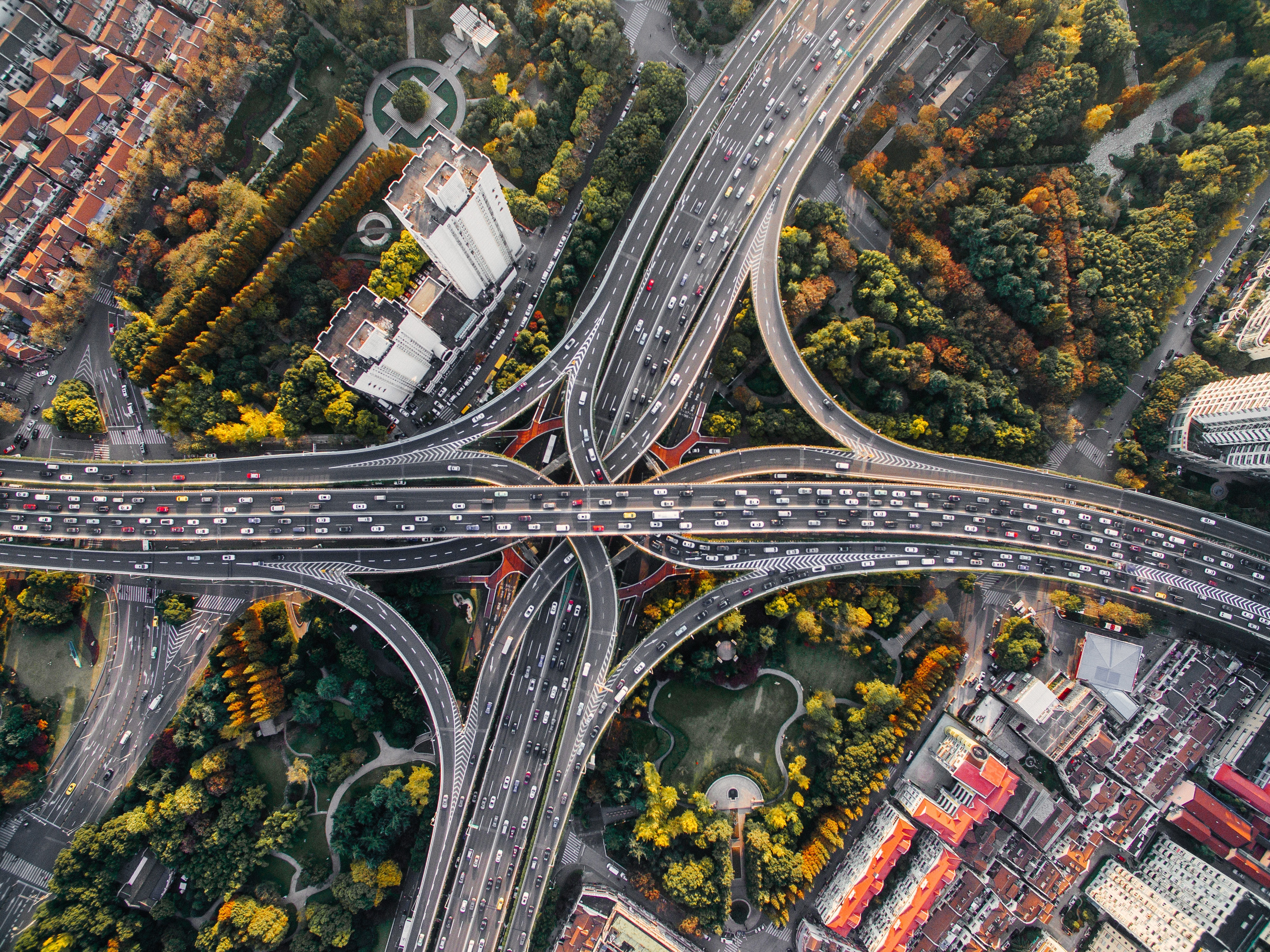 Aerial view of freeways intersecting