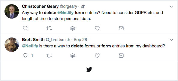 User tweets requesting deleting form submissions.