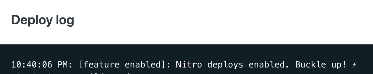 Deploy log that says things about nitro deploys