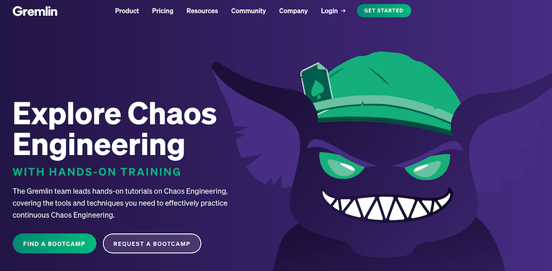 Gremlin's website homepage screenshot - how their bootcamps moved online