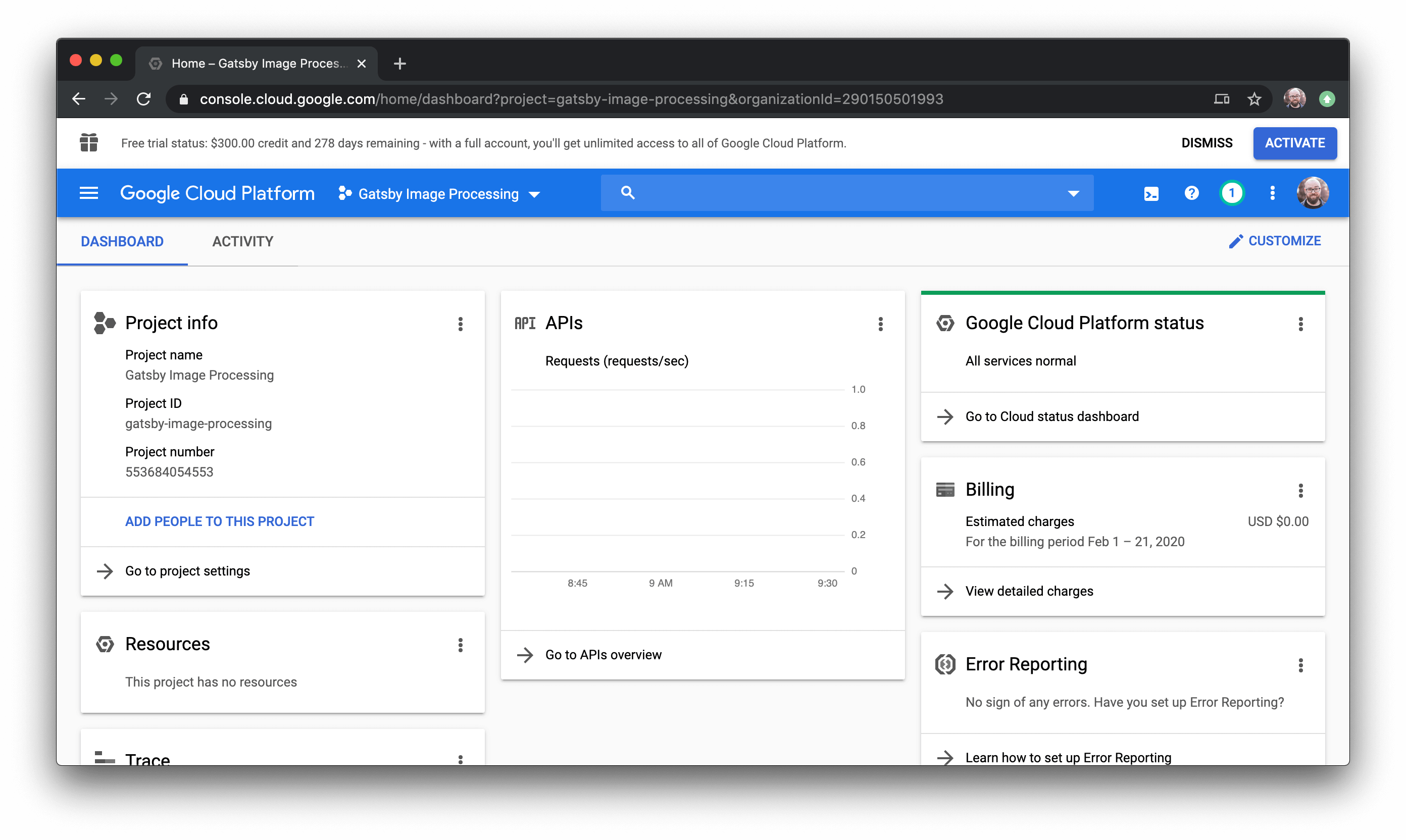 Google Cloud Dashboard.