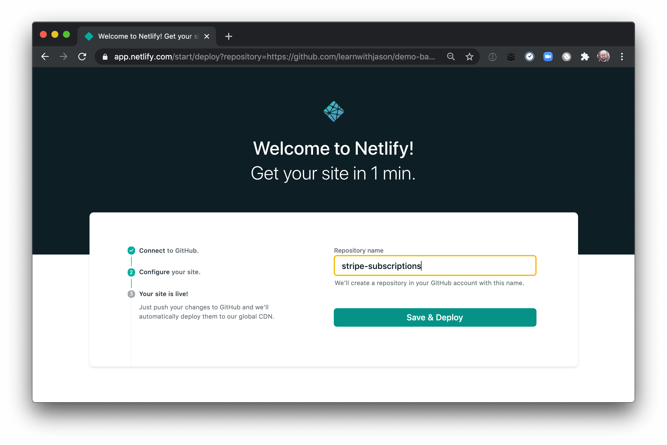 The Deploy To Netlify UI.