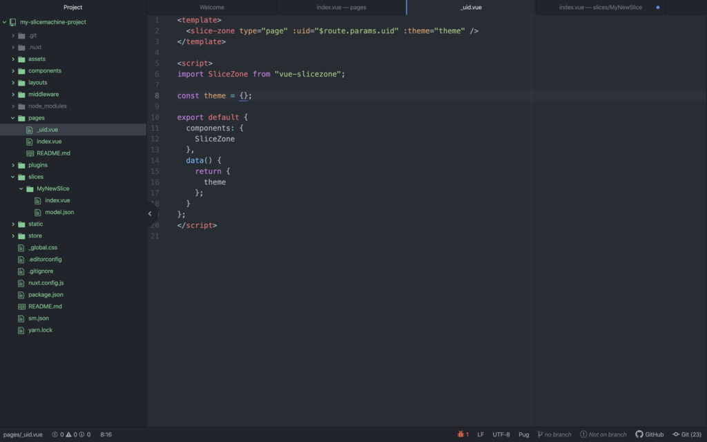 SliceZone web component code example in Vue page template