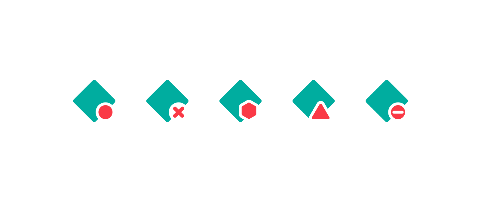 5 different versions of the favicon for a failed deploy. 1. circle. 2. cross, 3. hexagon, 4. triangle, 5. circle with a horizontal white line through it.