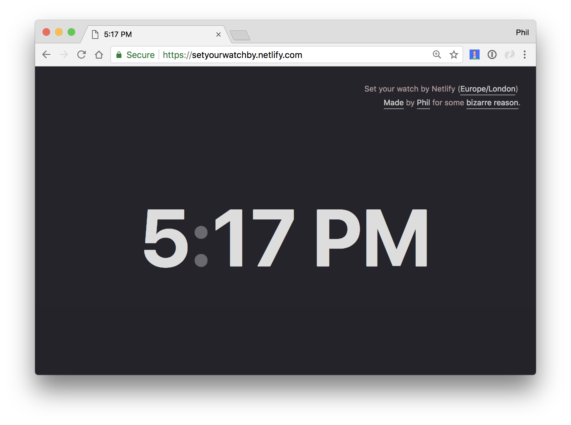 Screenshot of setyourwatchby.netlify.com showing the time 5:17pm