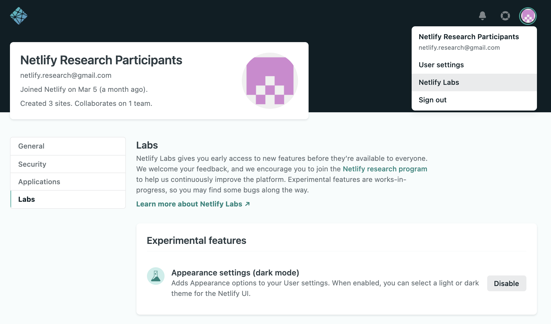 Netlify Labs user interface selector