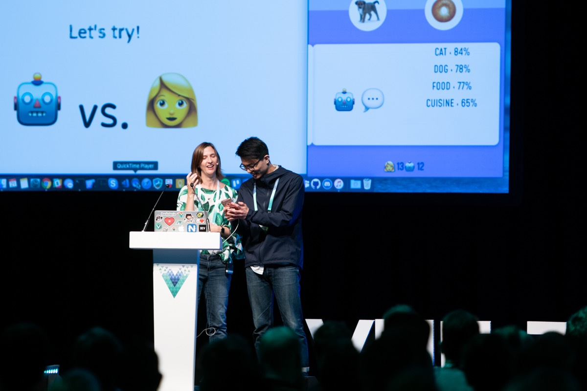 Jen Looper live demoing with a volunteer at Vue London