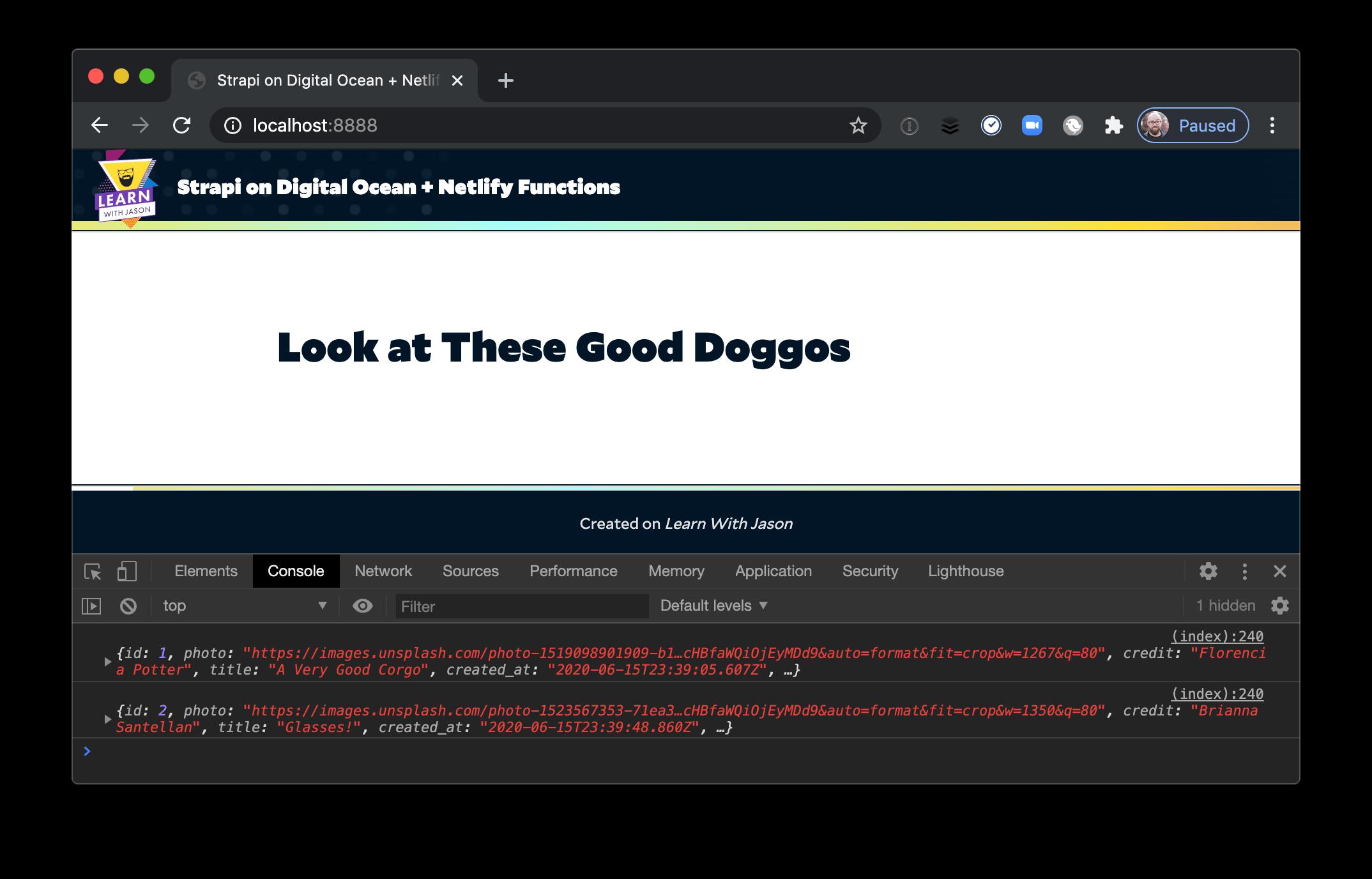 Corgi data logged in the console.