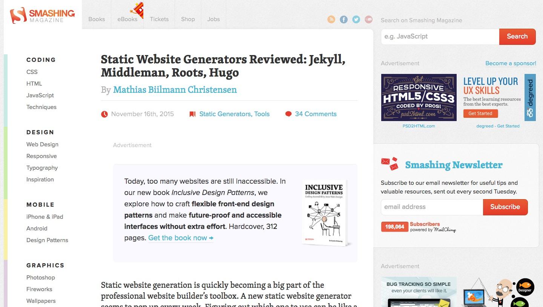 Smashing Magazine: Static Website Generators Reviewed: Jekyll ...