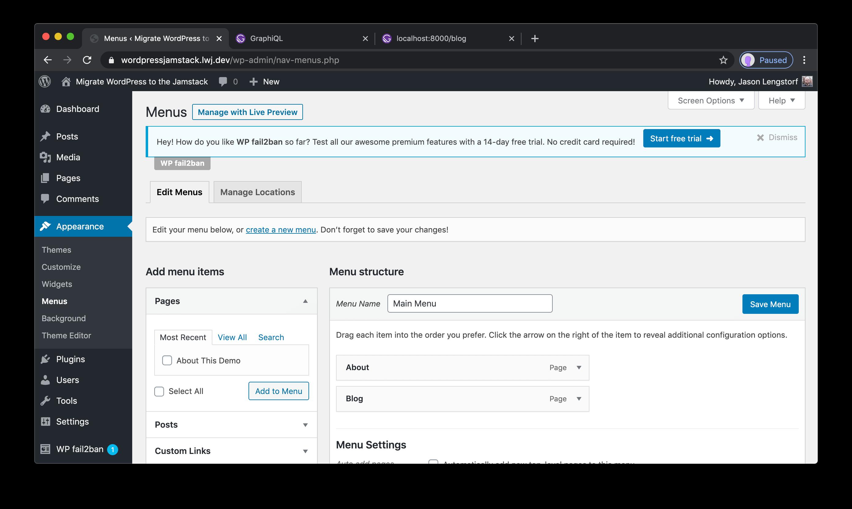 WordPress menus UI.