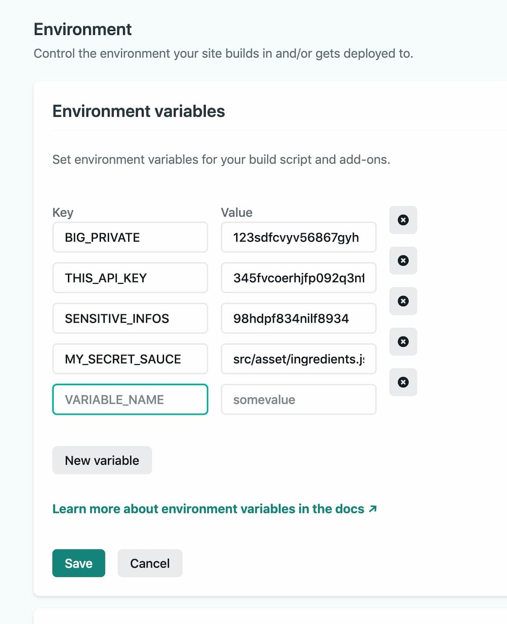 project dashboard list of environment variable