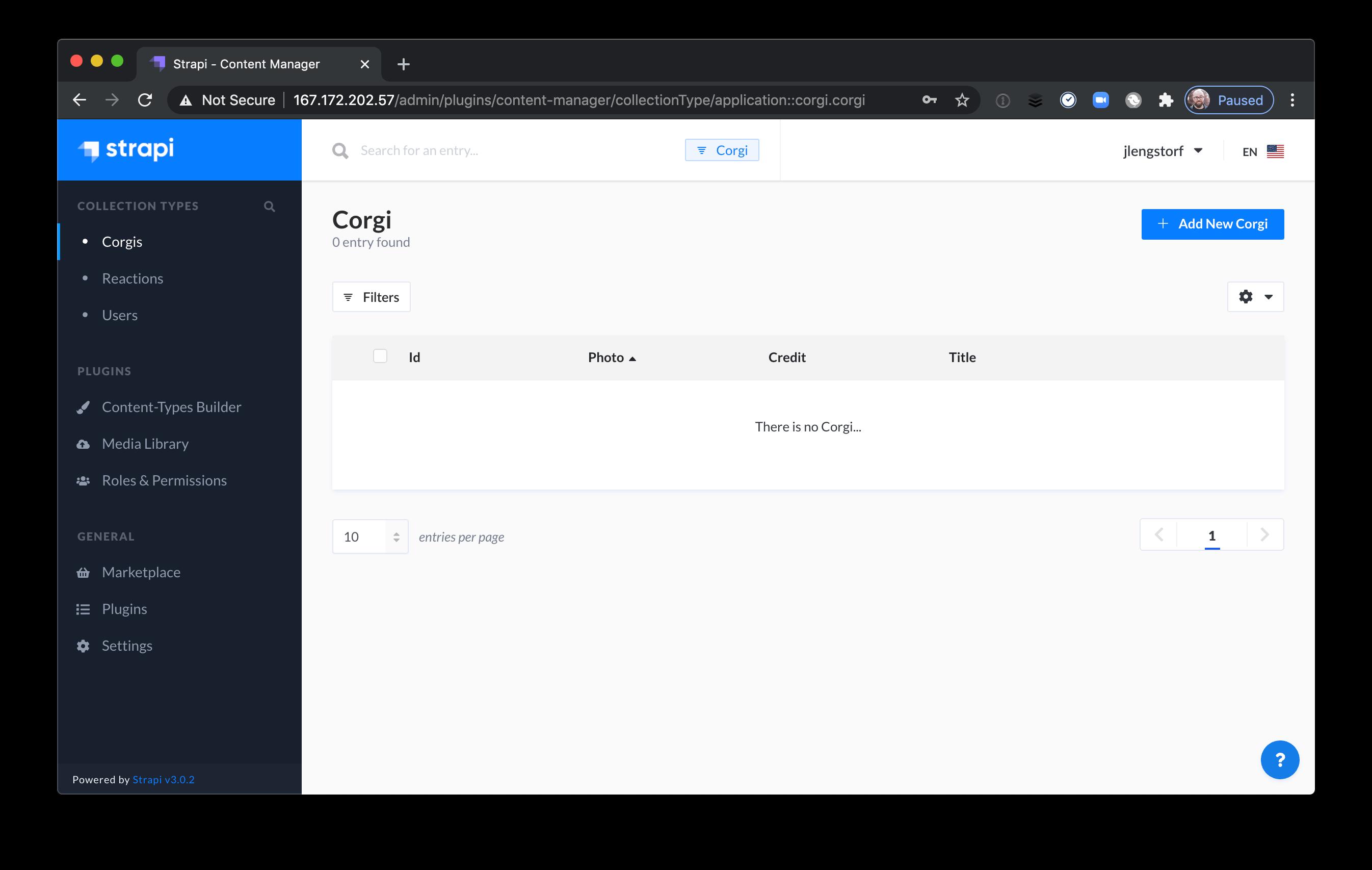 Adding an entry through the Strapi admin UI.