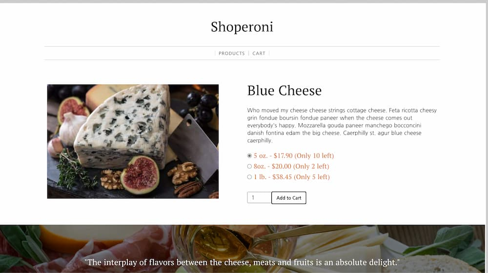 a screenshot of the product detail page for aged gruyere with variants