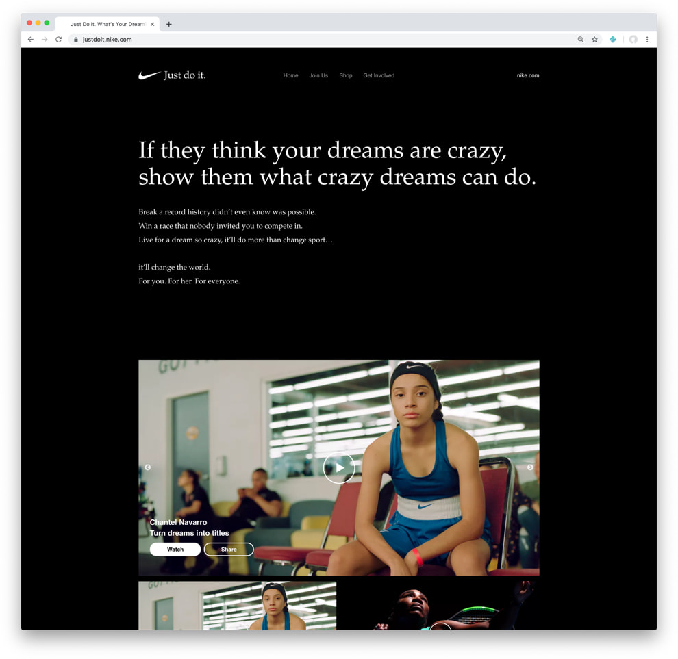 Screenshot of justdoit.nike.com